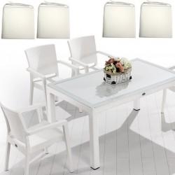 Set Masa cu sticla securizata și 4 scaune cu saltele , 90x150