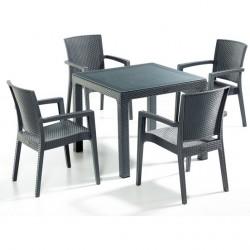 Set mobilier de exterior 4+1 Masa cu sticla