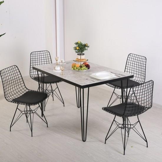 Masa de Bucatarie Set - Set masa + 4 scaune metal