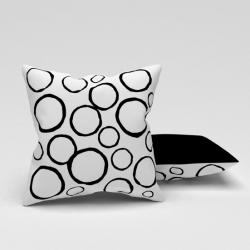 Erenev Inele frumoase în pernă decorativă albă, neagră, 43X43 cm