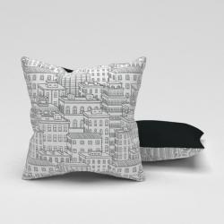 Erenev Pernă decorativă City Line alb-negru 43x43 cm