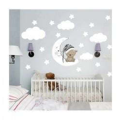 Ursul de dormit, stele, cameră de perete autocolant Set pentru copii Norii lui
