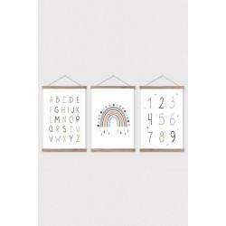 Alfabet și numere Rainbow Figured; Copii, Afișe Cameră Canvas pentru copii de masă 3 set