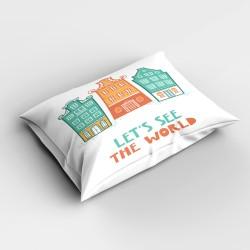 oraș Else Orange Green 3d dormitor Patterned pernă 50x70cm