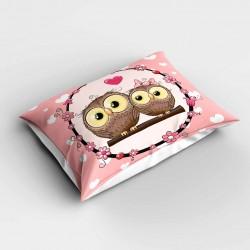 Else roz inima Owl model 3d dormitor pernă 50x70