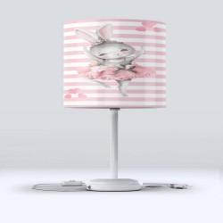 Roz și alb Striped gri Else Tavsanli Balerina Patterned Lampshade Camera Copiilor
