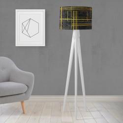 Shade Else Galben Negru Striped Lemn design Trepied Lamp