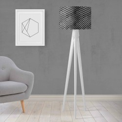 Shade Else Negru Alb Gri gravată Lemn design Trepied Lamp