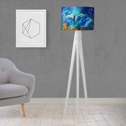 Shade Else Albastru Delfinii gravată din lemn de design trepied Lampa