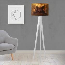 Shade Else Cutii Yellow gravată din lemn de design trepied Lampă