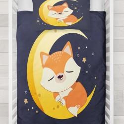 Else noapte Moon Stars Sleepy Fox 3d Seturi Duvet Patterned pentru copii