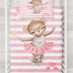 Else roz Balerina Held 3D Seturi Patterned ursuleț de pluș pentru copii Duvet