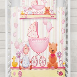 Else roz Beșikli Kuzulu 3D Urșii model Baby seturi Duvet