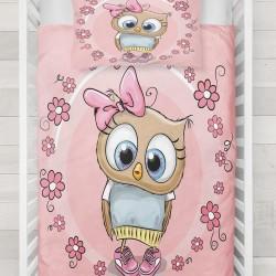 Seturi Else flori roz drăguț copil Owl 3d Patterned Duvet