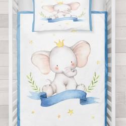 Seturi Else galben Striped Albastru Crown Prince Pat Elefant 3d Patterned Duvet