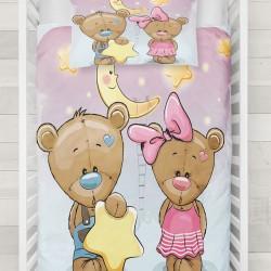Else Pink Blue Star Pat Ursul 3d Seturi Duvet Patterned