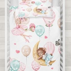 Else roz Balerina albastru model ursuleți într-un balon 3D Baby seturi Duvet