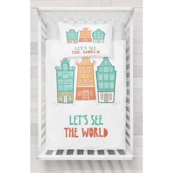 Citește Else Green Orange Homes lume 3D Seturi Patterned pentru copii Duvet