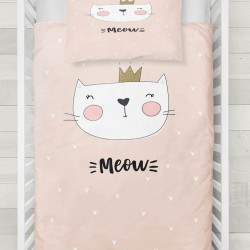 Else roz portocaliu Cute Pink Incoronat Cat 3d Seturi Patterned pentru copii Duvet