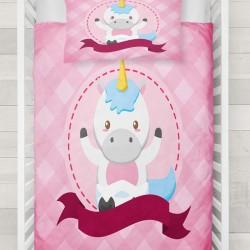 Else roz albastru 3d Patterned căluț Unicorn pentru copii lenjerie de pat