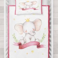 Seturi Else galben Incoronat printesa roz Striped elefant Pat 3d Patterned Duvet
