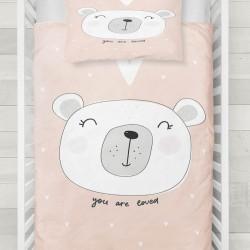 Seturi Else lumina alb roz inima drăguț copil Ursul 3d Patterned Duvet