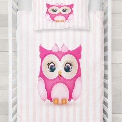 Else roz drăguț copil bufniță 3d Patterned Duvet Seturi