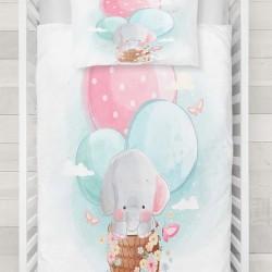 Else roz albastru cu bule model de umplere 3d Baby seturi Duvet