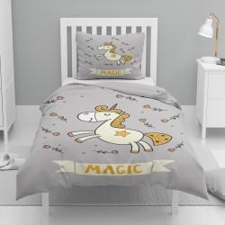Else galben gri singur model Montat Seturi Duvet Unicorn pentru copii