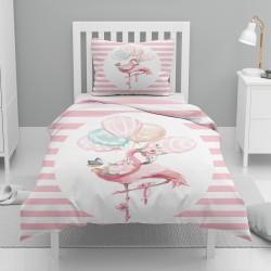 Else roz cu dungi albe Filamingo bule singur model pentru copii Seturi Duvet