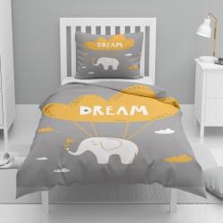 Else Galben Alb Gri Elephant Cute pentru copii Seturi de model unic Duvet
