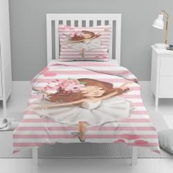 Seturi Else roz alb cu dungi Patterned Balerina fată copil Single Duvet