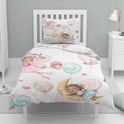 Else roz Balerina Ursul balon Patterned seturi de dormit pentru copii Single Duvet