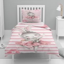 Seturi roz și alb Striped gri Else Tavsanli Patterned Balerina Singur Copii Duvet