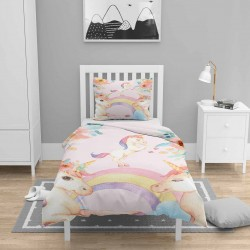 Else Pink Unicorn Cai copii 3d Seturi Patterned Duvet