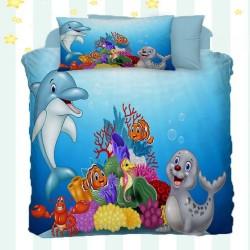 Marea Else 3D Dolphin model de bumbac pentru copii Seturi Duvet