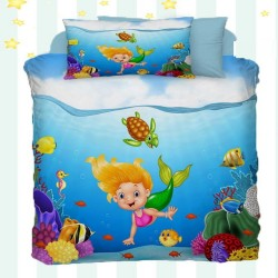 Else Mermaid 3D model de bumbac pentru copii Seturi Duvet