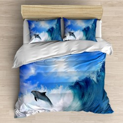 Valurile marii Else de coastă 3d Seturi Patterned dublu Duvet