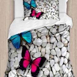 Seturi Else 3D Printed roz albastru fluture unică Duvet