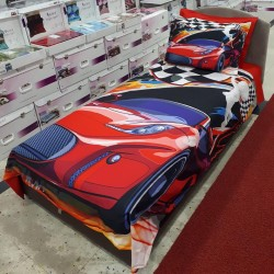 Seturi Else Roșu Albastru masina 3D pentru copii Single Duvet