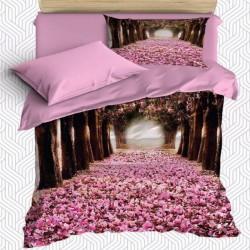 Seturi Else 3D Pink Floral Patterned Dragoste Road Single Duvet