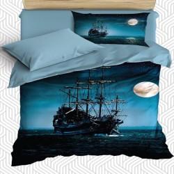 Seturi navei Marea Else 3D albastru model negru Single Duvet