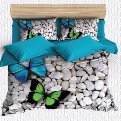 Seturi Else Albastru Verde fluture pietre 3D dublă Duvet