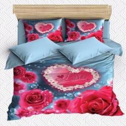 Seturi Else albastru roz Rose Inimile 3D dublă Duvet