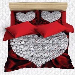 Seturi Else 3D Red Gray Diamond Heart dublă Duvet