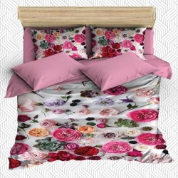 Seturi Else 3D Pink Red Rose Frunze dublu Duvet
