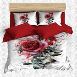 Seturi Else 3D Roșu Alb Verde Rose dublă Duvet