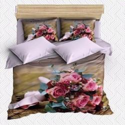 Seturi Else Gray Board roz 3D Floral dublă Duvet
