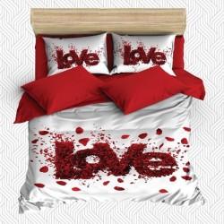 Seturi Else dragoste Red Rose Petale 3D dublă Duvet