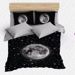 Seturi Else Negru Gri Patterned Moon 3D Space dublu Duvet